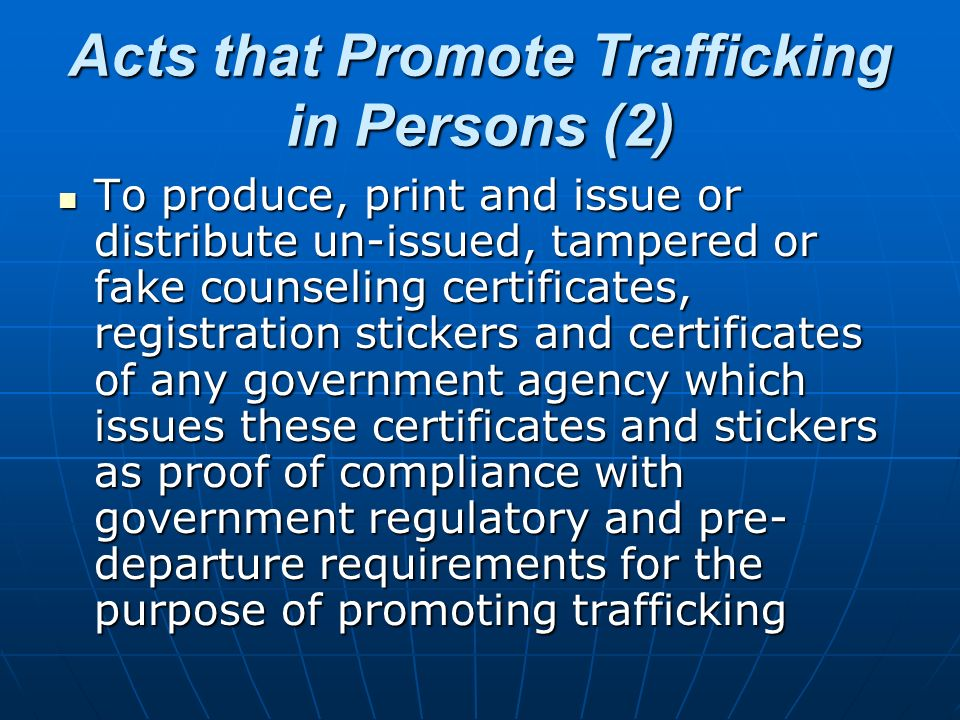 Acts that Promote Trafficking in Persons (2)