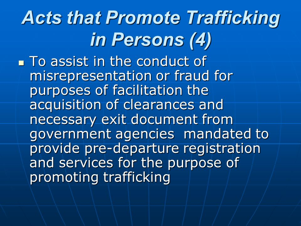 Acts that Promote Trafficking in Persons (4)