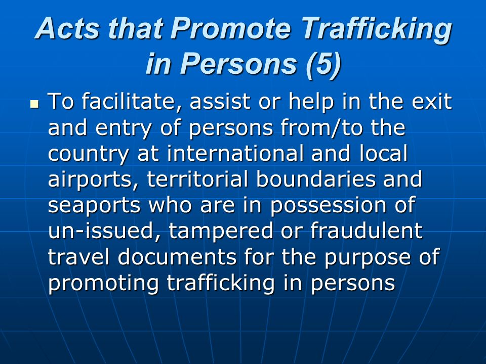 Acts that Promote Trafficking in Persons (5)