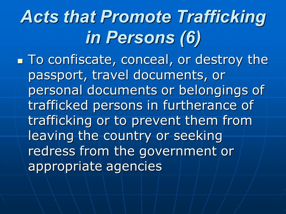 Acts that Promote Trafficking in Persons (6)
