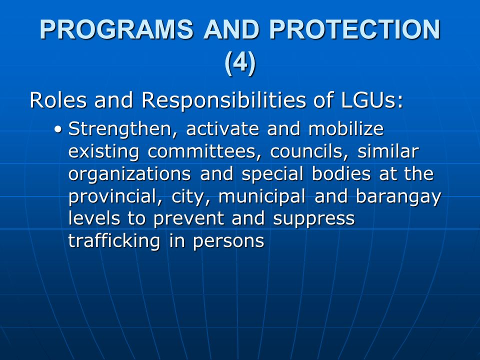 PROGRAMS AND PROTECTION (4)