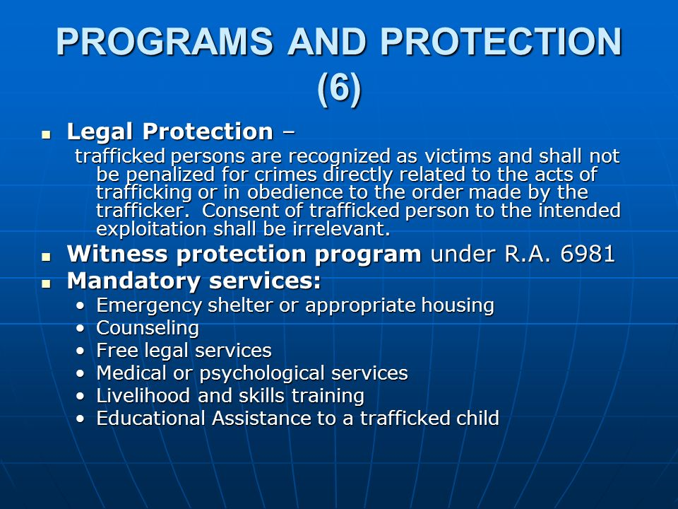 PROGRAMS AND PROTECTION (6)