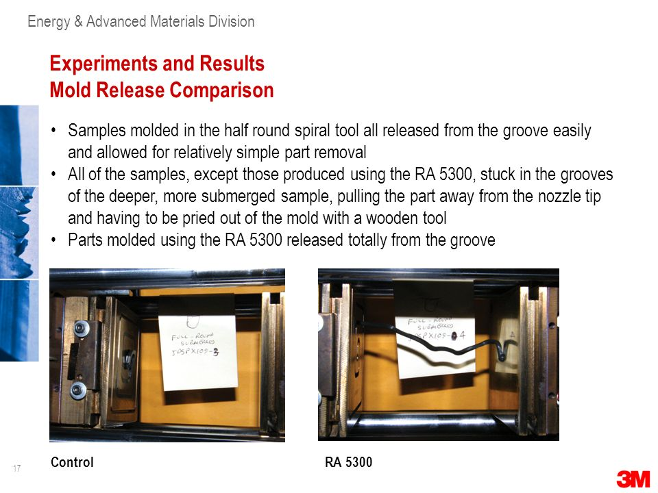 Experiments and Results Mold Release Comparison