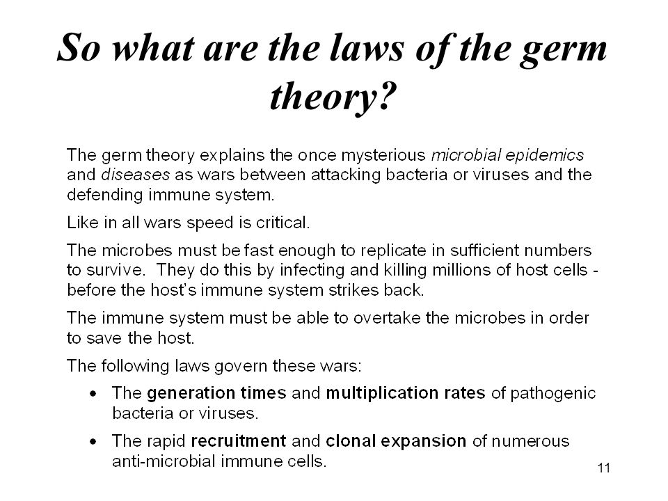 So what are the laws of the germ theory