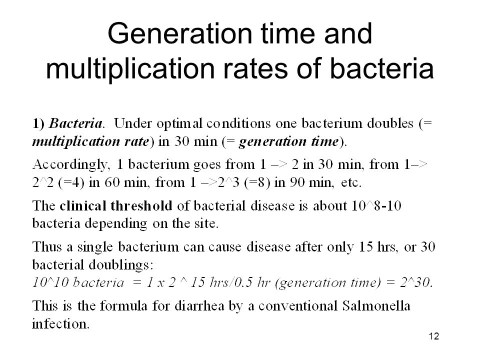 Generation time and multiplication rates of bacteria