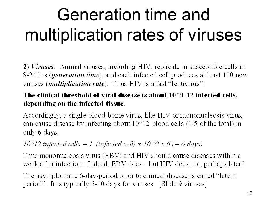 Generation time and multiplication rates of viruses