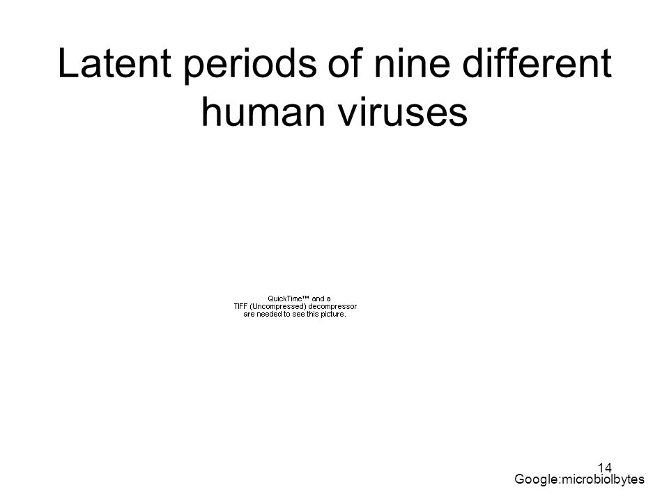 Latent periods of nine different human viruses