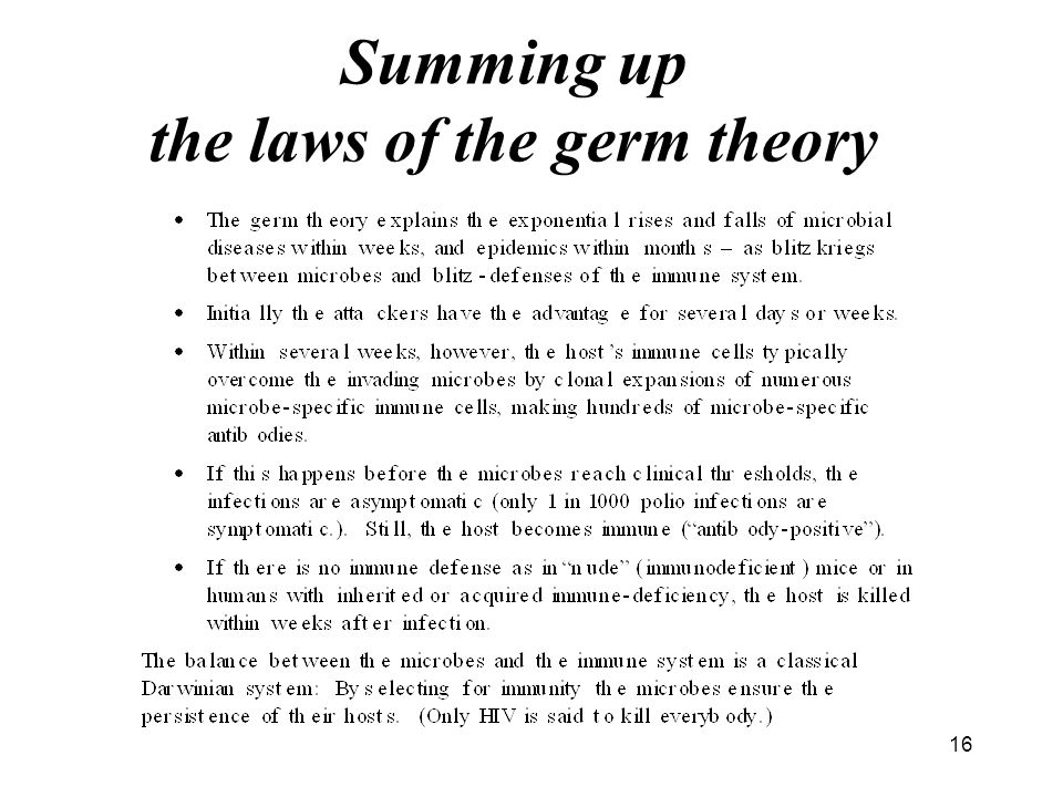 Summing up the laws of the germ theory