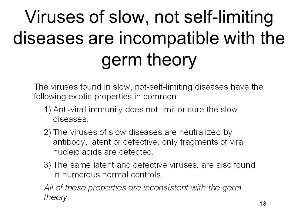 Viruses of slow, not self-limiting diseases are incompatible with the germ theory