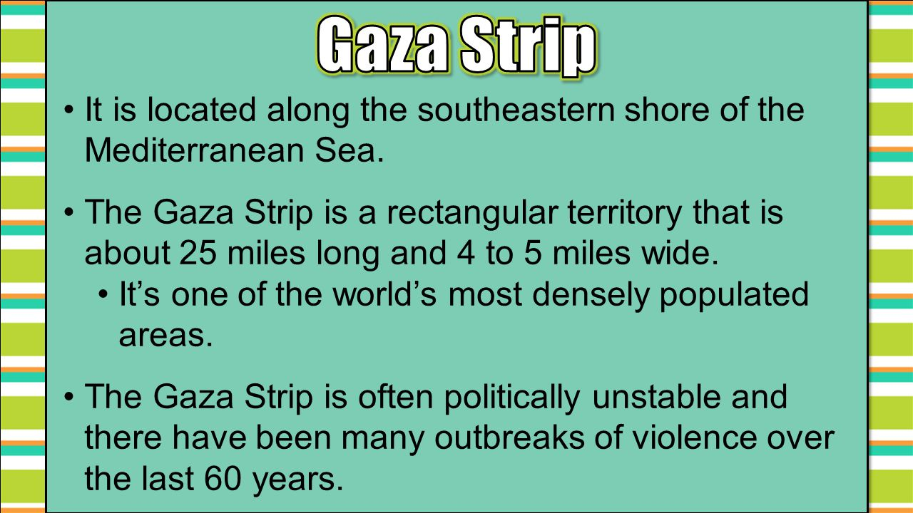 Gaza Strip It is located along the southeastern shore of the Mediterranean Sea.