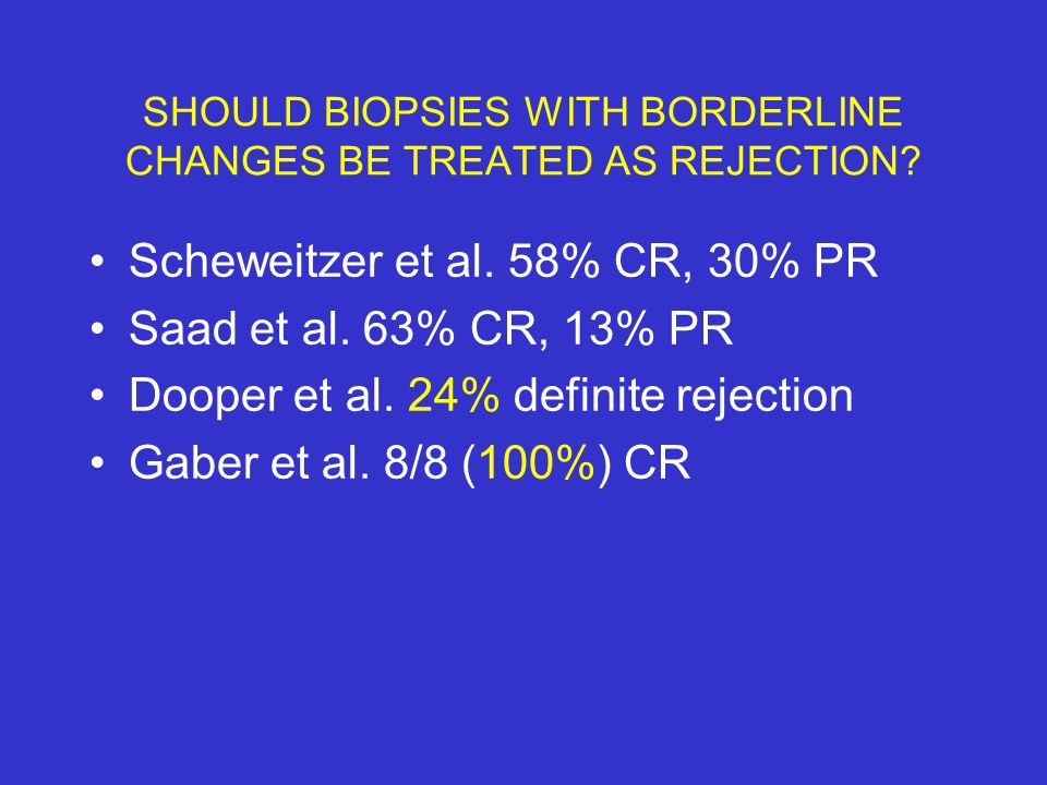 SHOULD BIOPSIES WITH BORDERLINE CHANGES BE TREATED AS REJECTION