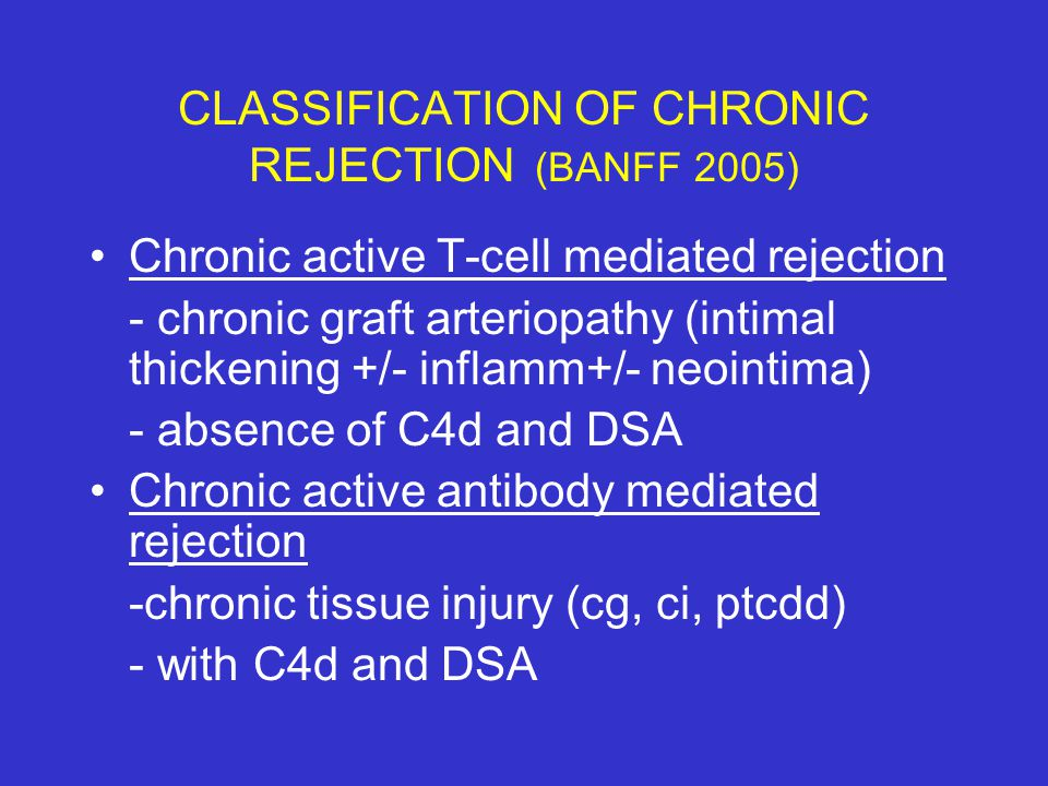 CLASSIFICATION OF CHRONIC REJECTION (BANFF 2005)