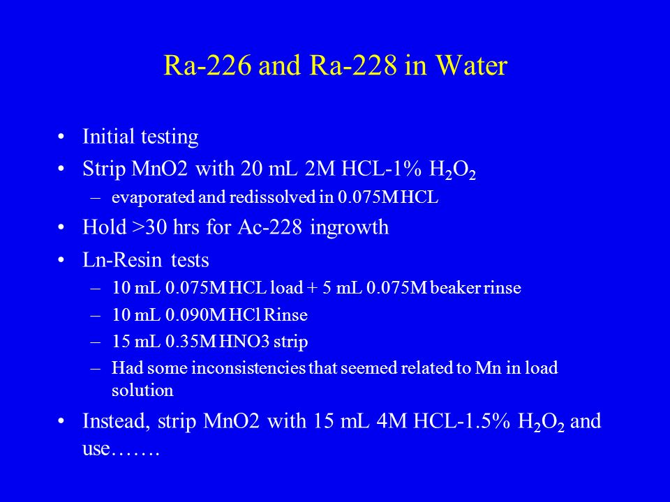 Ra-226 and Ra-228 in Water Initial testing