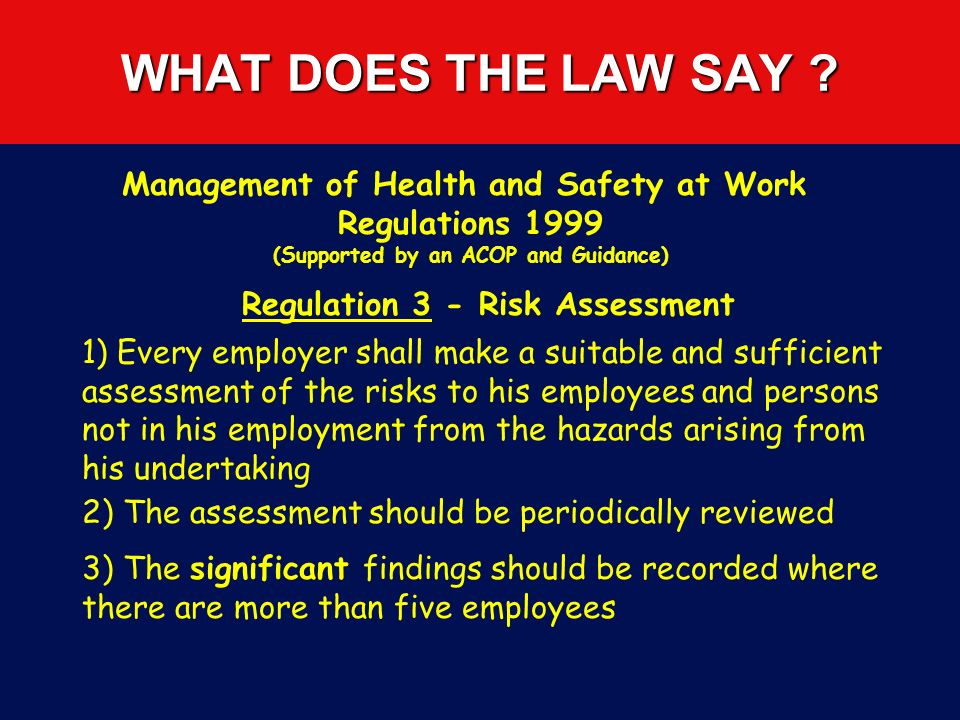 WHAT DOES THE LAW SAY Management of Health and Safety at Work