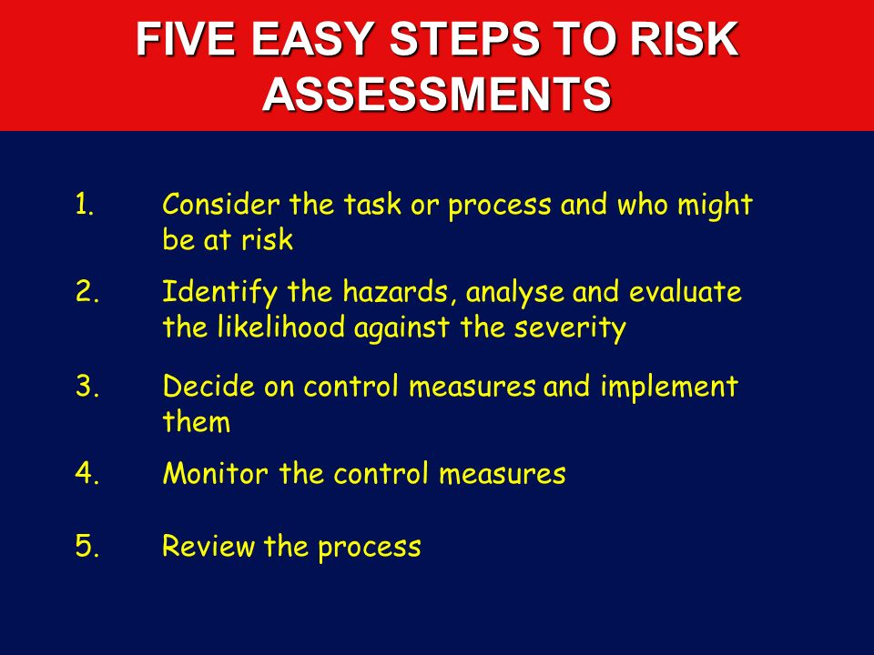 FIVE EASY STEPS TO RISK ASSESSMENTS