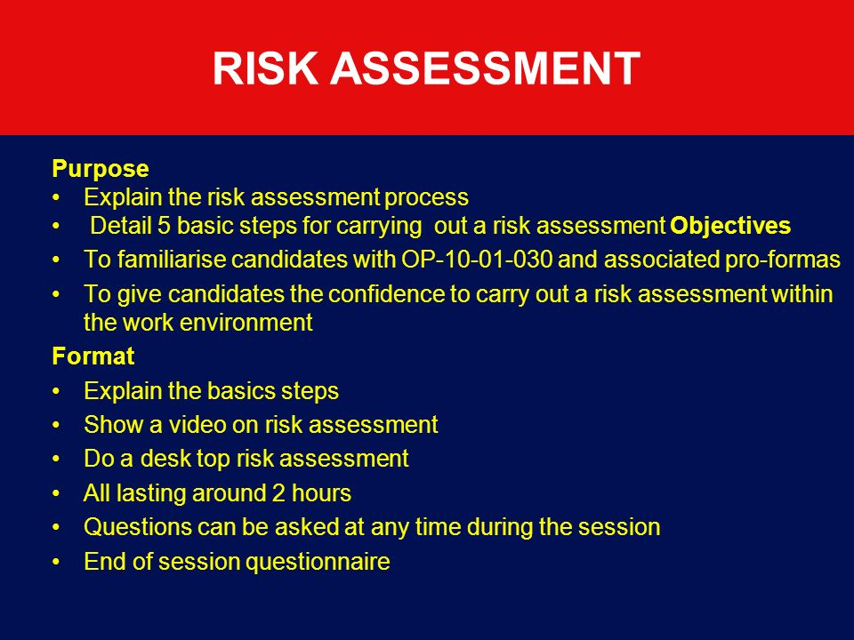 RISK ASSESSMENT Purpose Explain the risk assessment process
