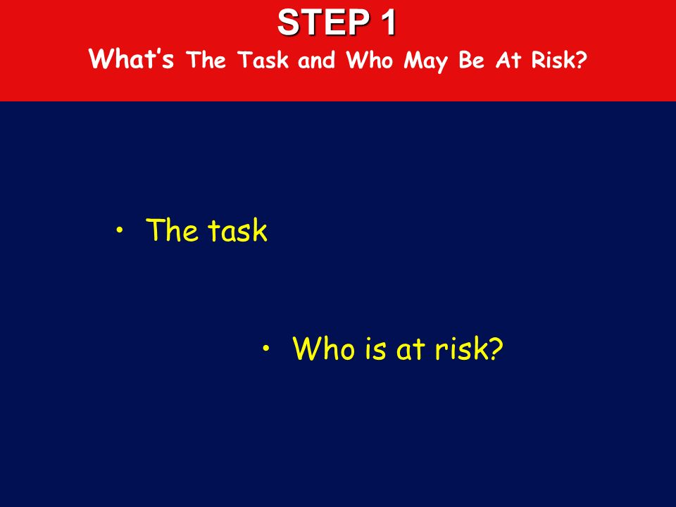STEP 1 What's The Task and Who May Be At Risk