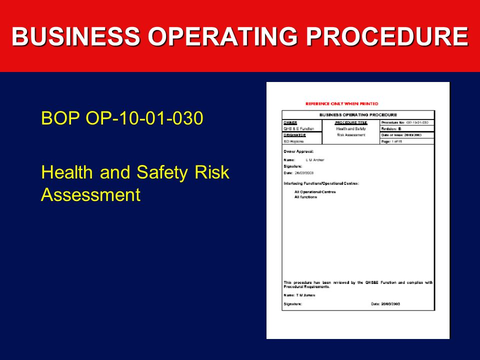 BUSINESS OPERATING PROCEDURE