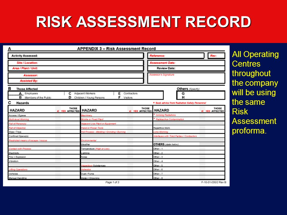 RISK ASSESSMENT RECORD
