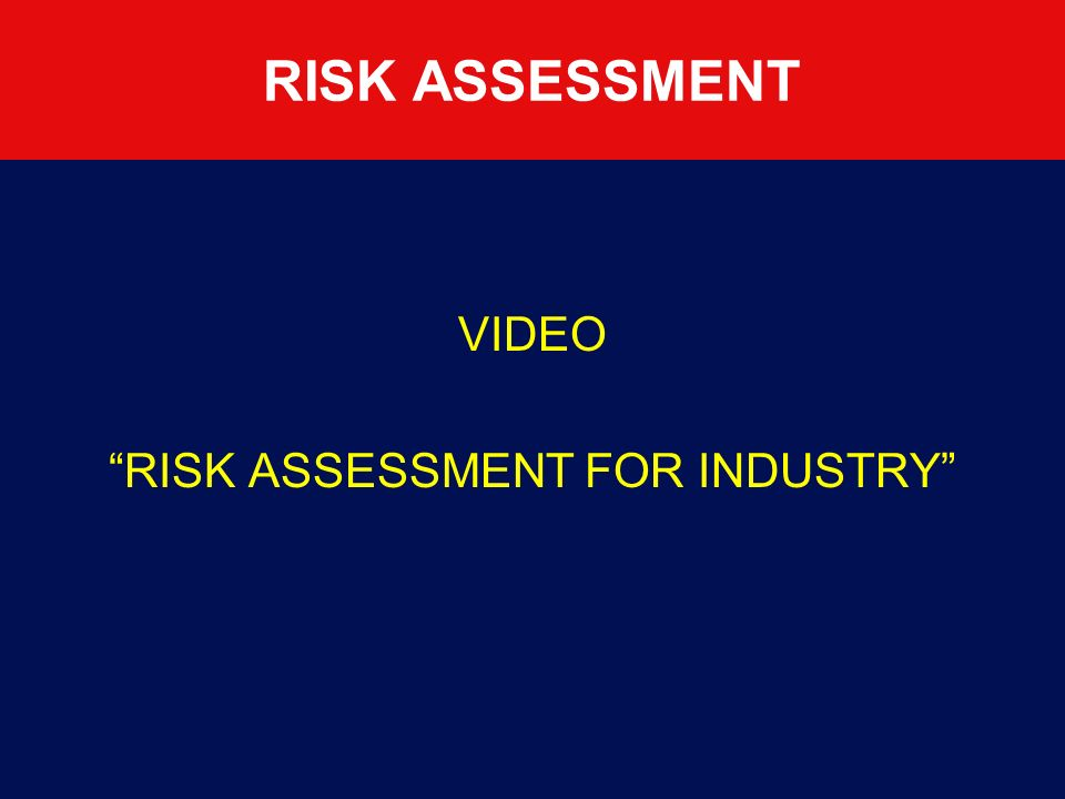 RISK ASSESSMENT FOR INDUSTRY