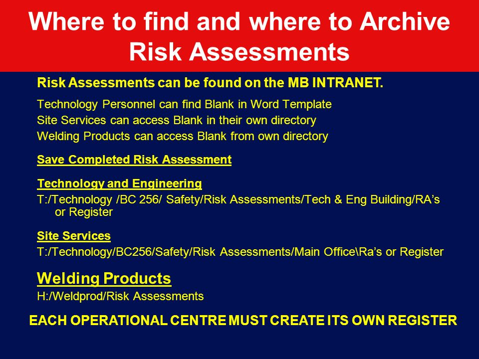 Where to find and where to Archive Risk Assessments
