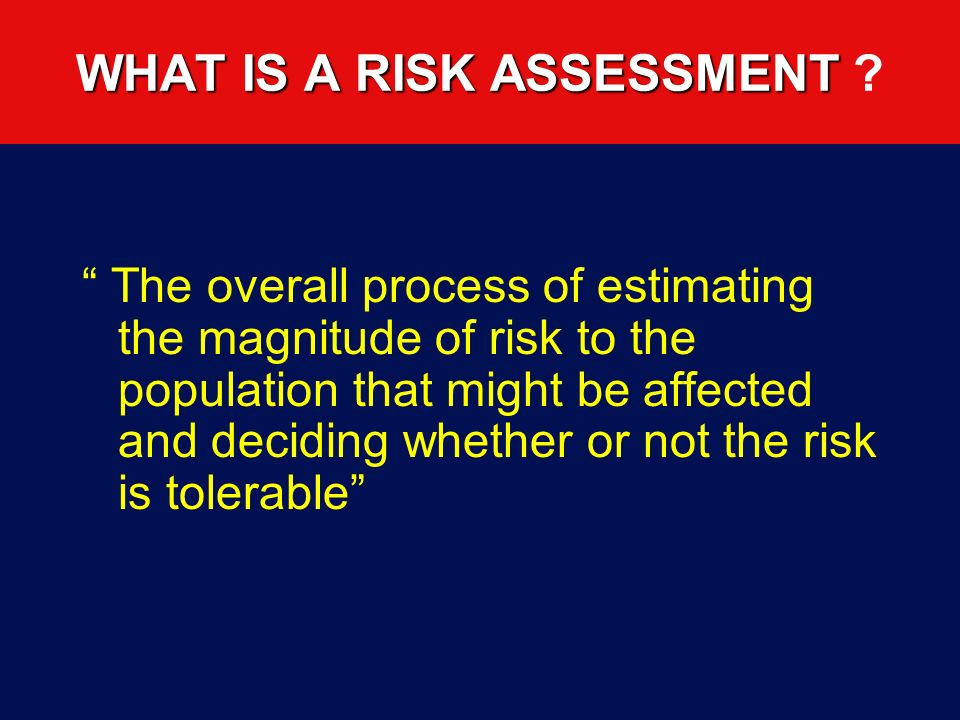 WHAT IS A RISK ASSESSMENT