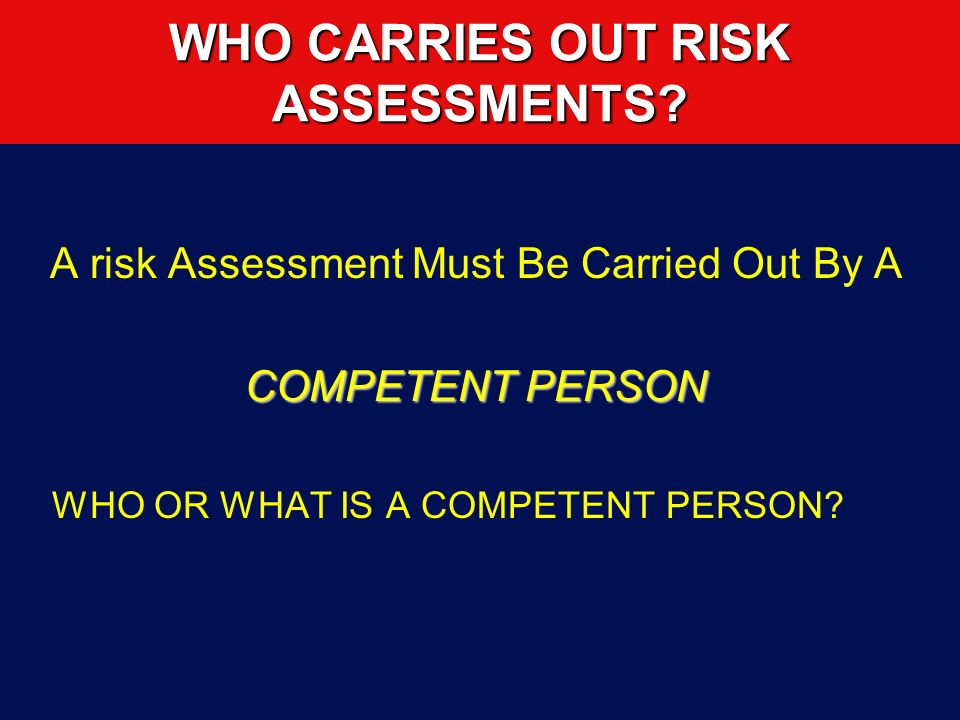 WHO CARRIES OUT RISK ASSESSMENTS
