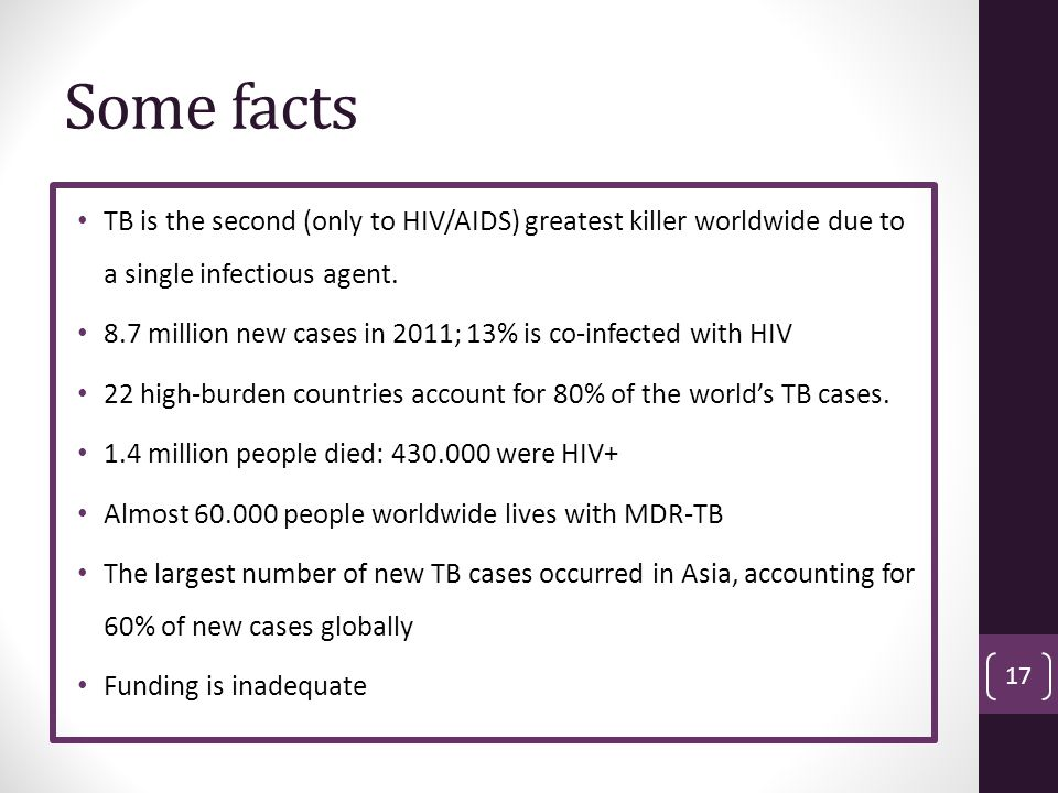 Some facts TB is the second (only to HIV/AIDS) greatest killer worldwide due to a single infectious agent.