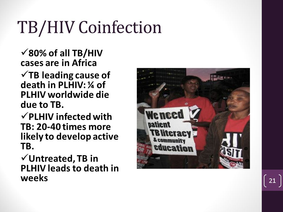 TB/HIV Coinfection 80% of all TB/HIV cases are in Africa