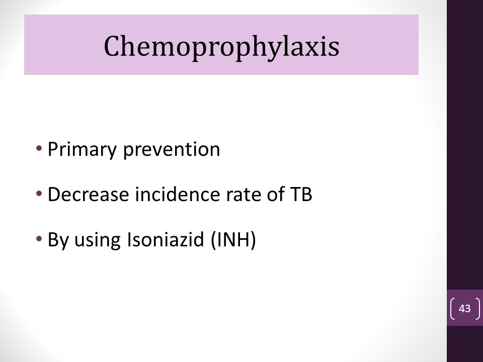 Chemoprophylaxis Chemoprophylaxis Primary prevention