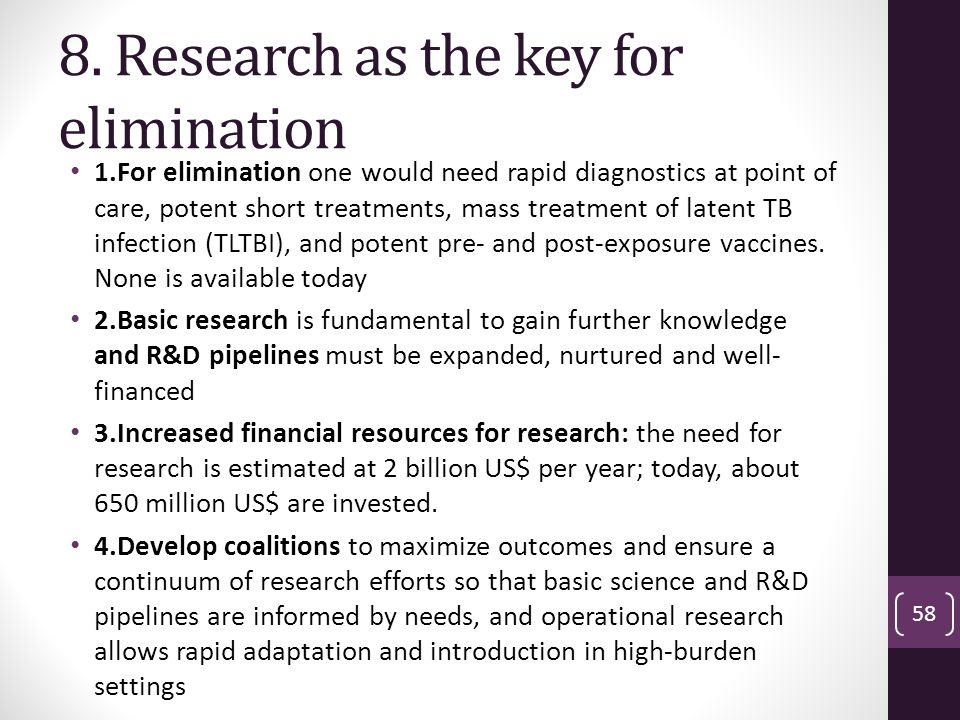 8. Research as the key for elimination
