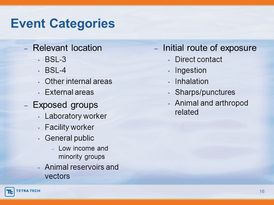 Event Categories Relevant location Exposed groups