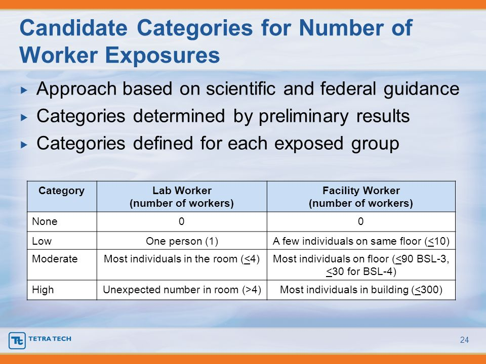 Candidate Categories for Number of Worker Exposures