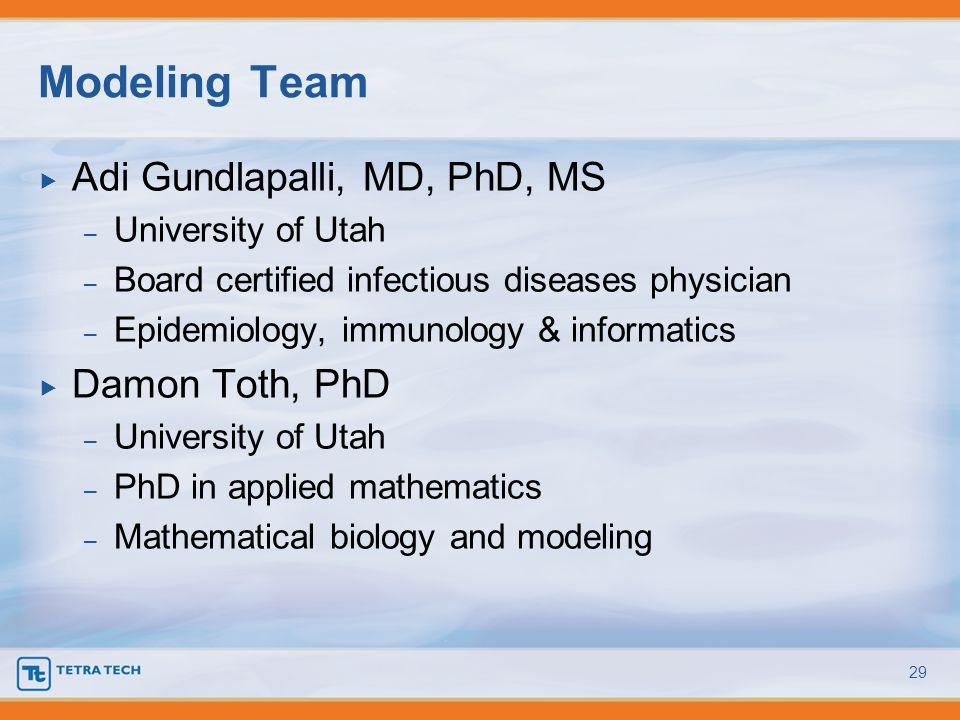 Modeling Team Adi Gundlapalli, MD, PhD, MS Damon Toth, PhD