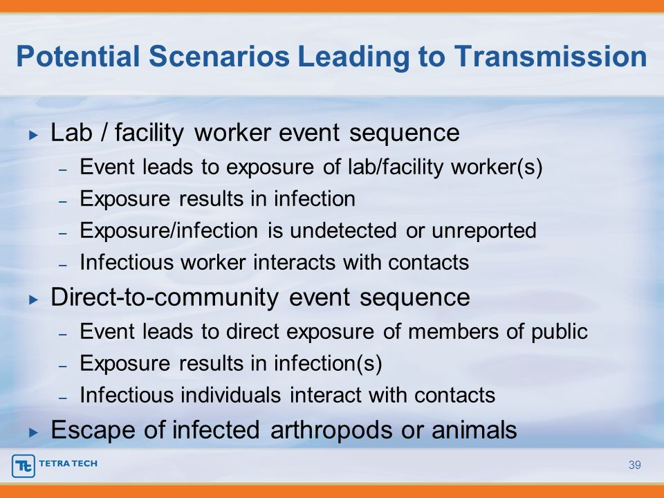Potential Scenarios Leading to Transmission