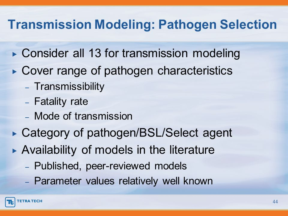 Transmission Modeling: Pathogen Selection