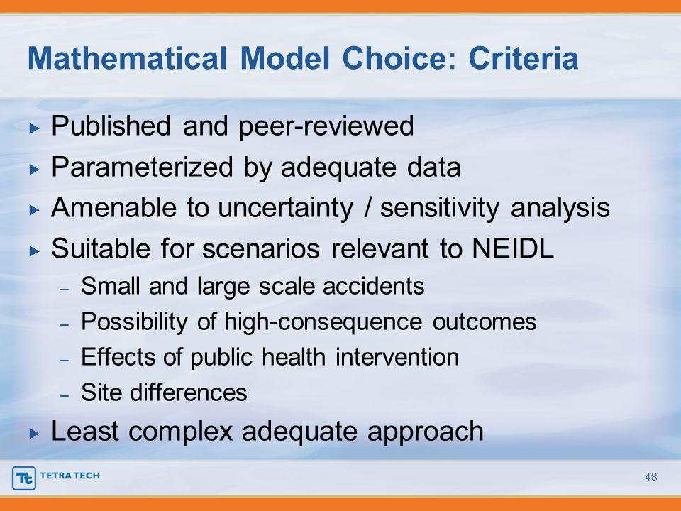 Mathematical Model Choice: Criteria
