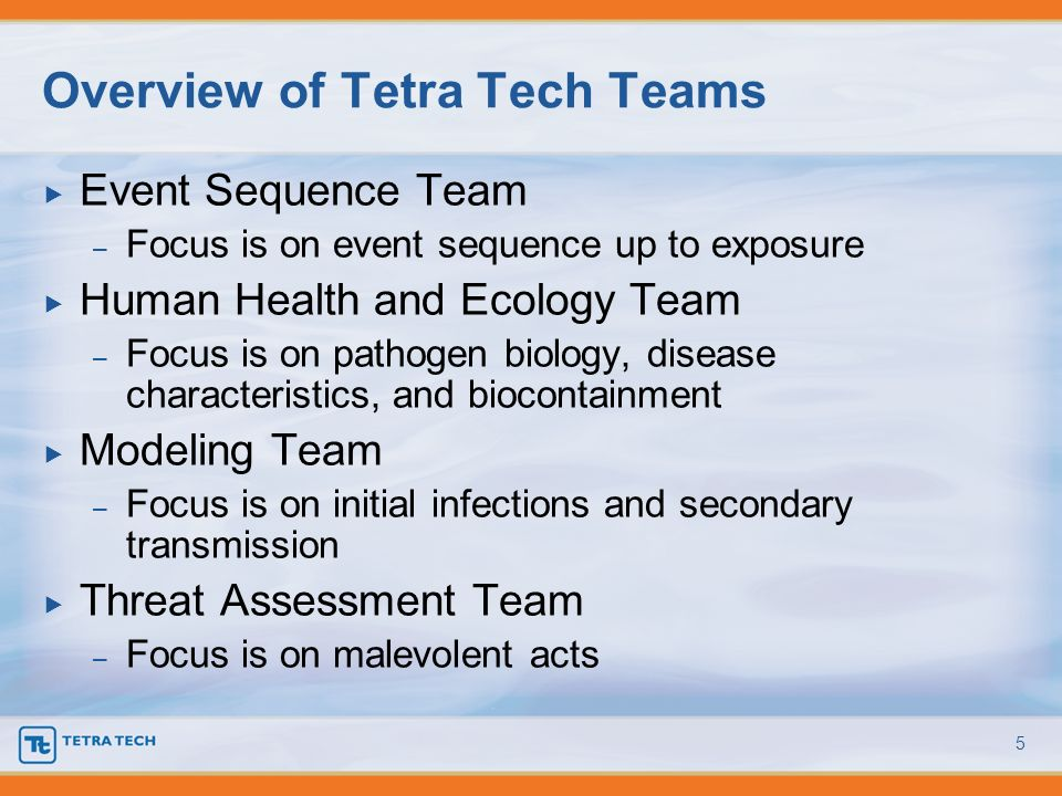 Overview of Tetra Tech Teams