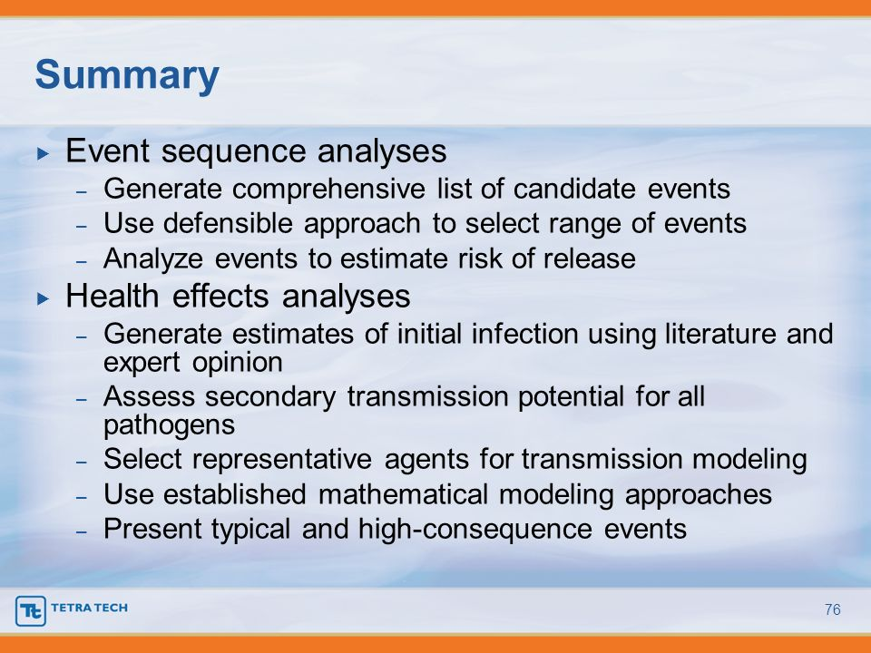 Summary Event sequence analyses Health effects analyses