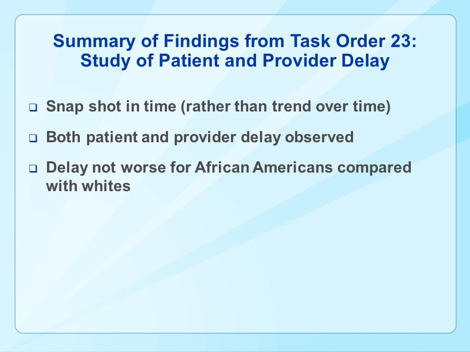 Summary of Findings from Task Order 23: Study of Patient and Provider Delay