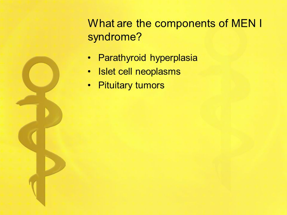 What are the components of MEN I syndrome