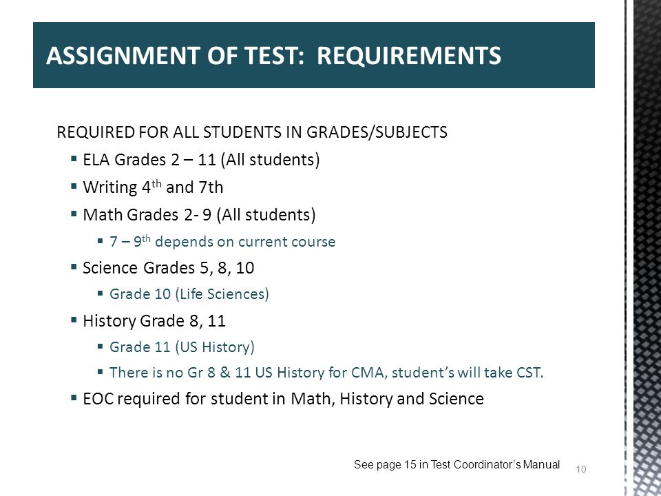 ASSIGNMENT OF TEST: REQUIREMENTS