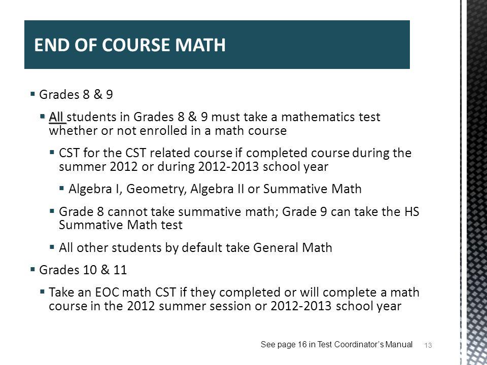 END OF COURSE MATH Grades 8 & 9