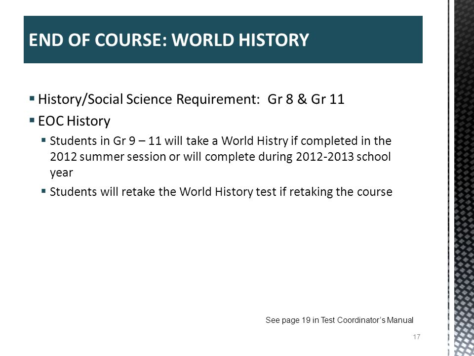 END OF COURSE: WORLD HISTORY