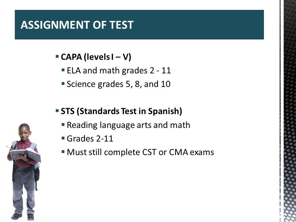 ASSIGNMENT OF TEST CAPA (levels I – V) ELA and math grades 2 - 11