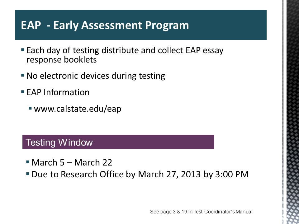 EAP - Early Assessment Program