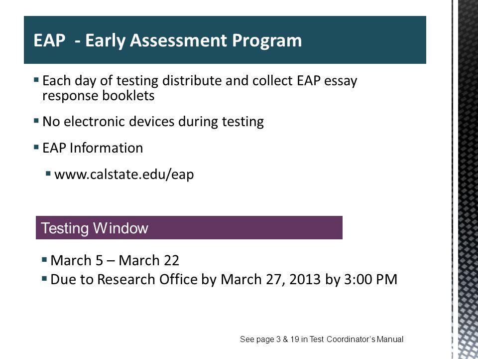 EAP - Early Assessment Program