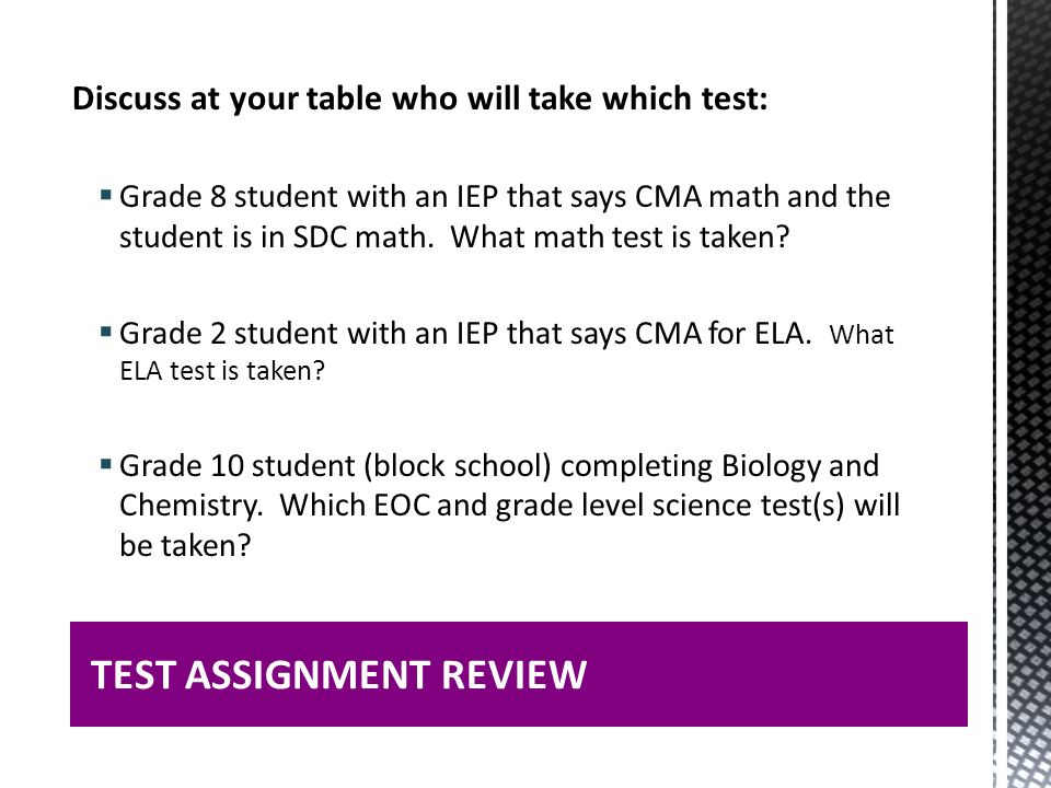 TEST ASSIGNMENT REVIEW