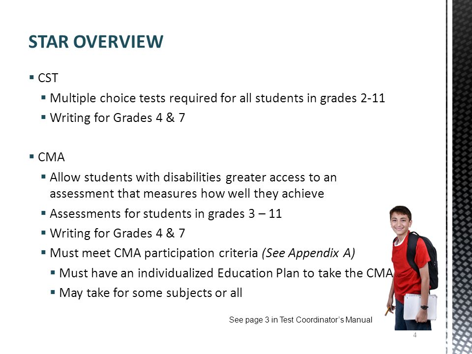 STAR OVERVIEW CST. Multiple choice tests required for all students in grades Writing for Grades 4 & 7.