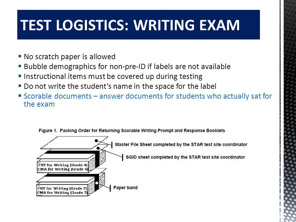 TEST LOGISTICS: WRITING EXAM